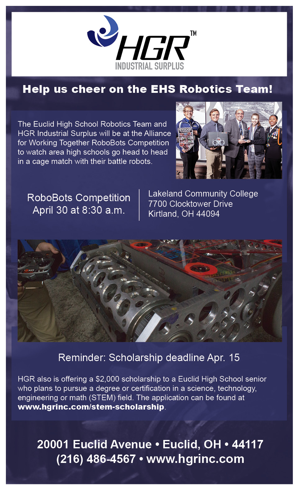 Invite to AWT RoboBots Competition and HGR Industrial Surplus Scholarship Application