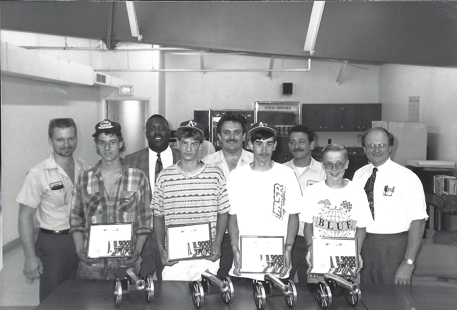 black and white photo of first graduating class of Cannons of Fredon program in 1992